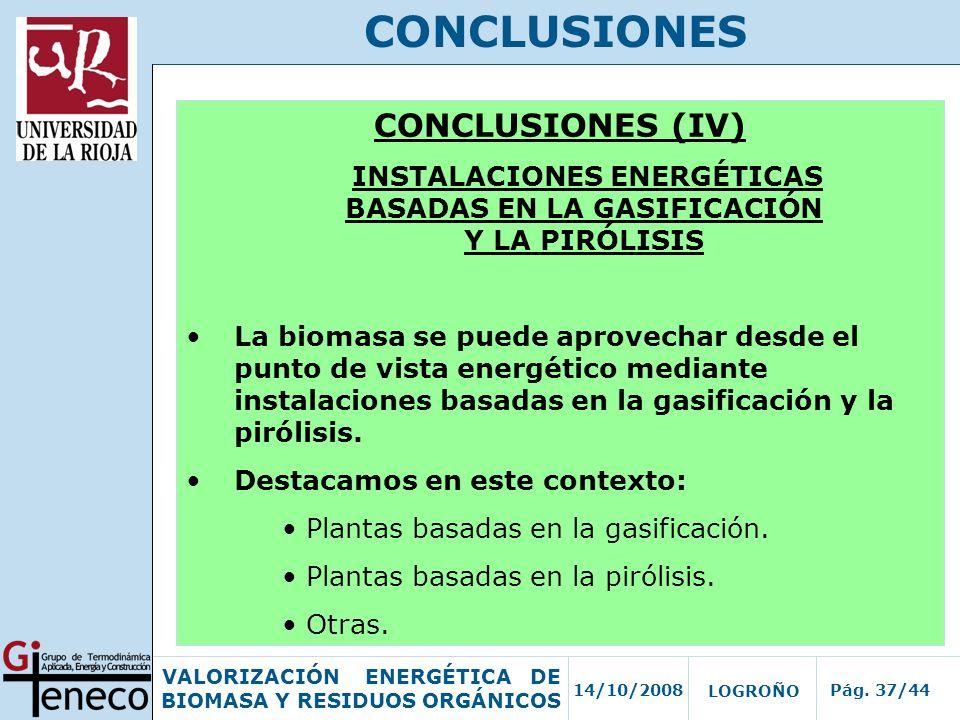 INSTALACIONES ENERGÉTICAS BASADAS EN LA GASIFICACIÓN Y LA PIRÓLISIS