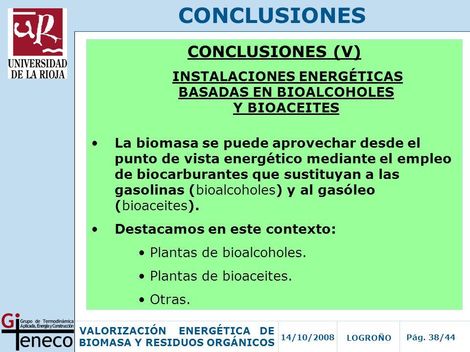 INSTALACIONES ENERGÉTICAS BASADAS EN BIOALCOHOLES Y BIOACEITES