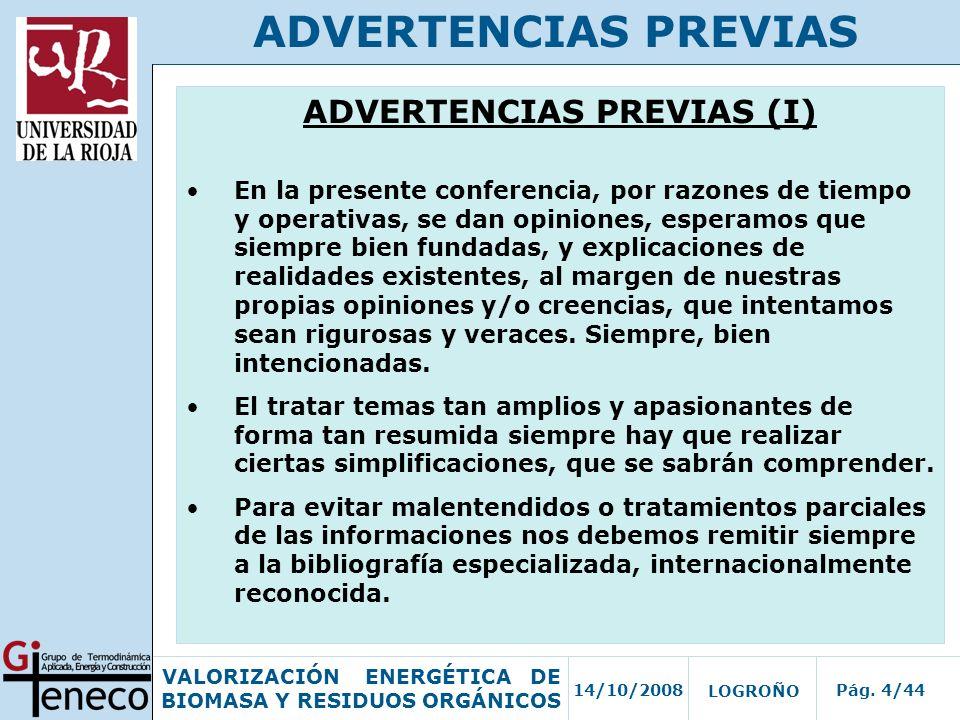 ADVERTENCIAS PREVIAS (I)