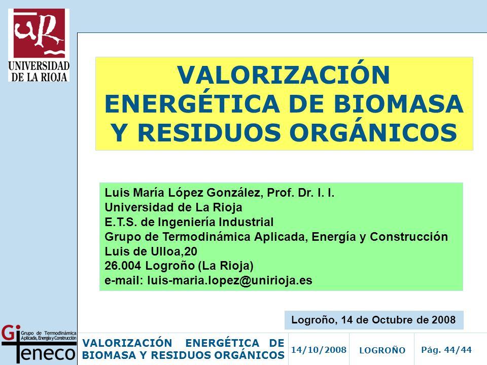 VALORIZACIÓN ENERGÉTICA DE BIOMASA Y RESIDUOS ORGÁNICOS