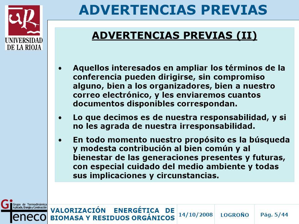 ADVERTENCIAS PREVIAS (II)