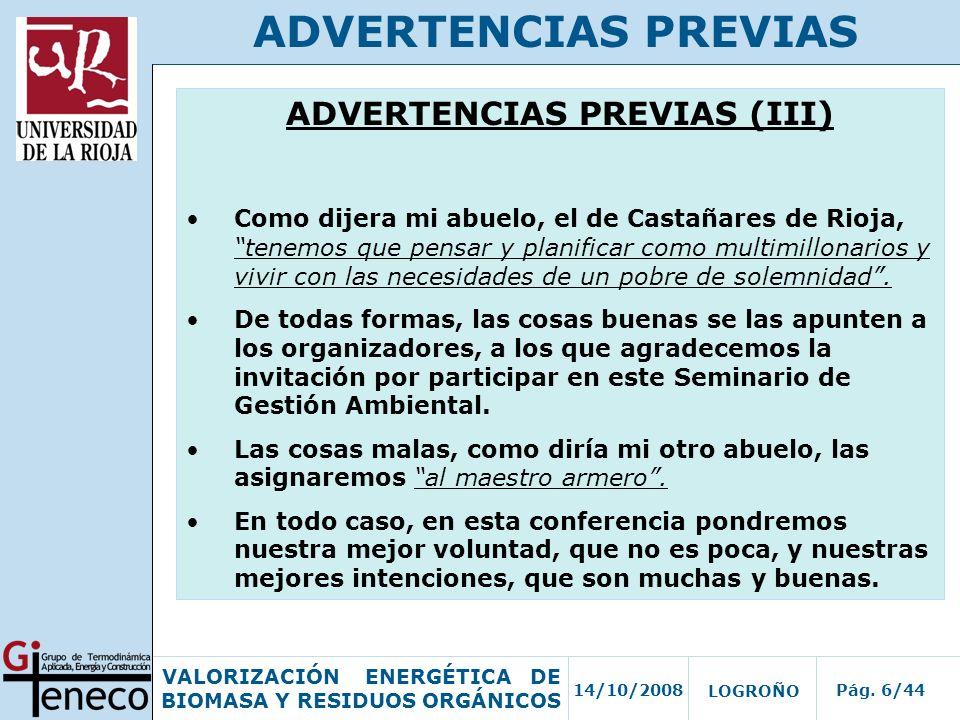 ADVERTENCIAS PREVIAS (III)