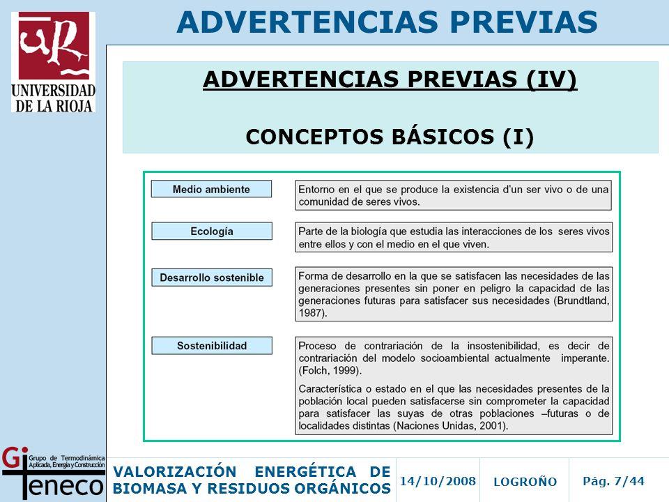 ADVERTENCIAS PREVIAS (IV)