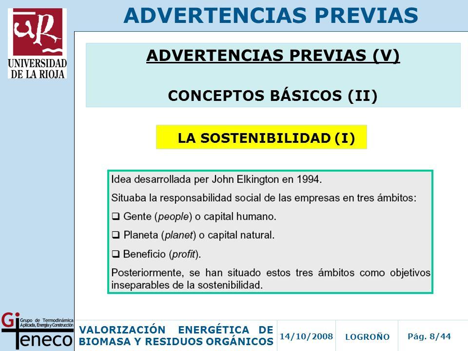 ADVERTENCIAS PREVIAS (V) CONCEPTOS BÁSICOS (II)
