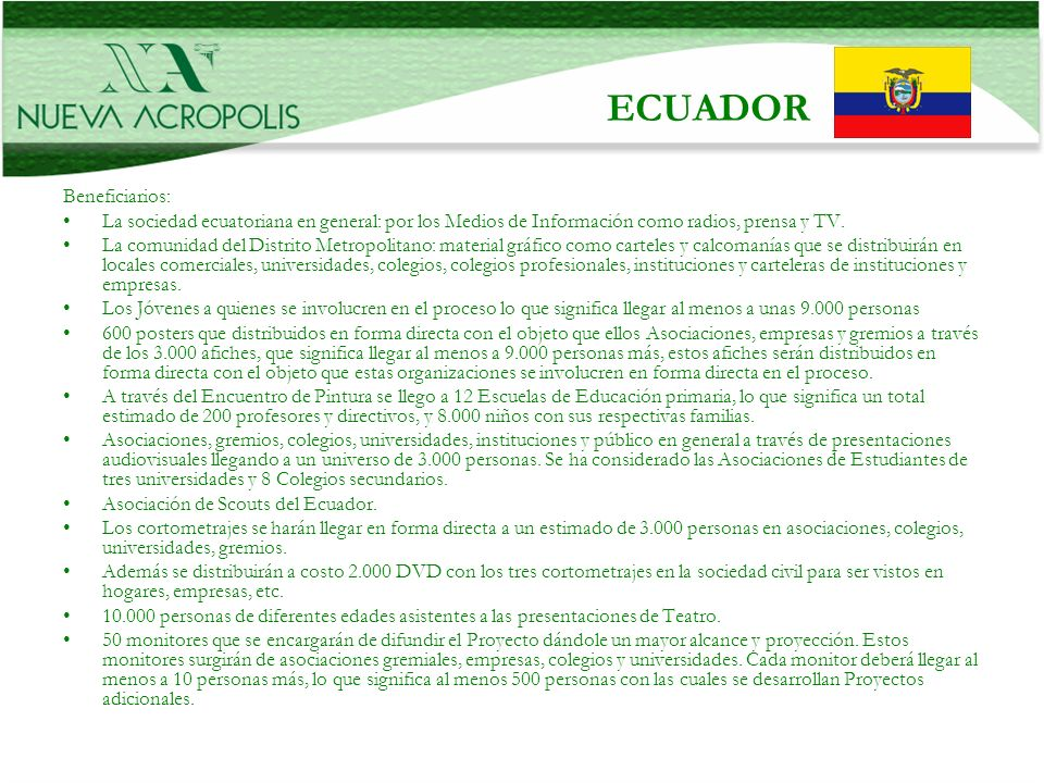 ECUADOR Beneficiarios: