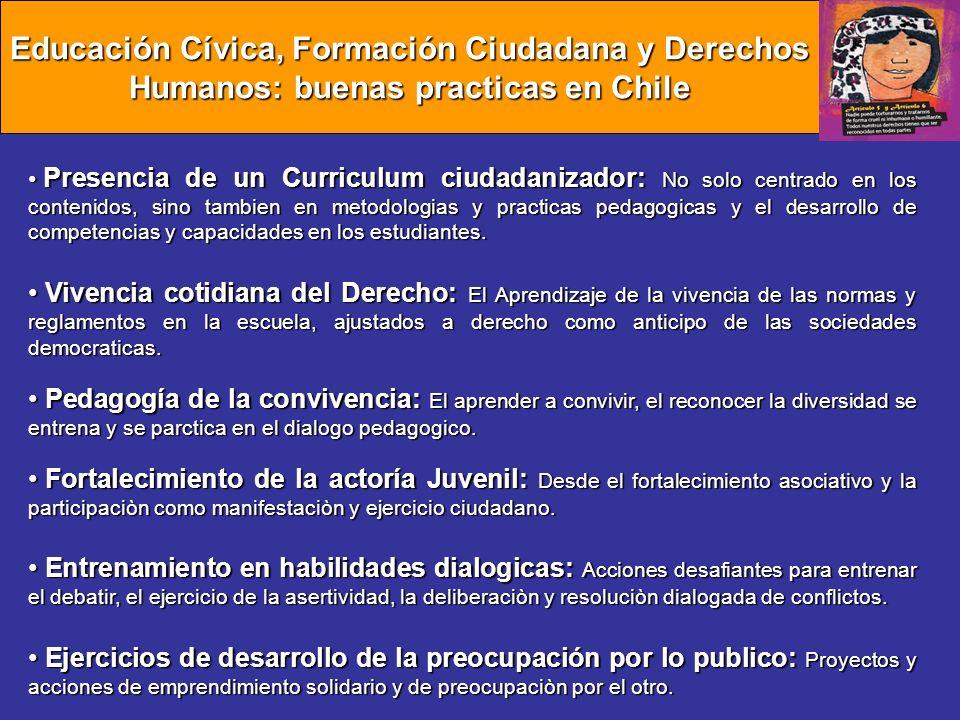 Educación Cívica, Formación Ciudadana y Derechos Humanos: buenas practicas en Chile