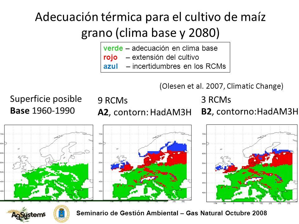 Adecuación térmica para el cultivo de maíz grano (clima base y 2080)