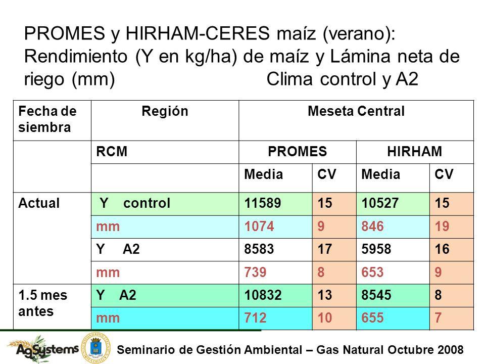 PROMES y HIRHAM-CERES maíz (verano): Rendimiento (Y en kg/ha) de maíz y Lámina neta de riego (mm) Clima control y A2