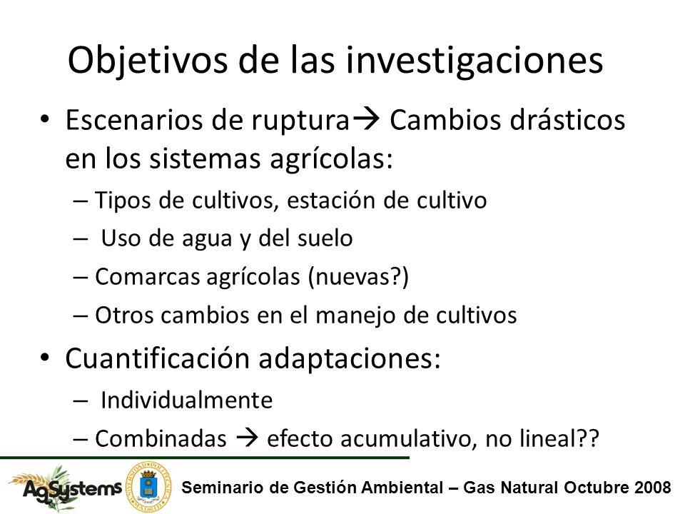 Objetivos de las investigaciones