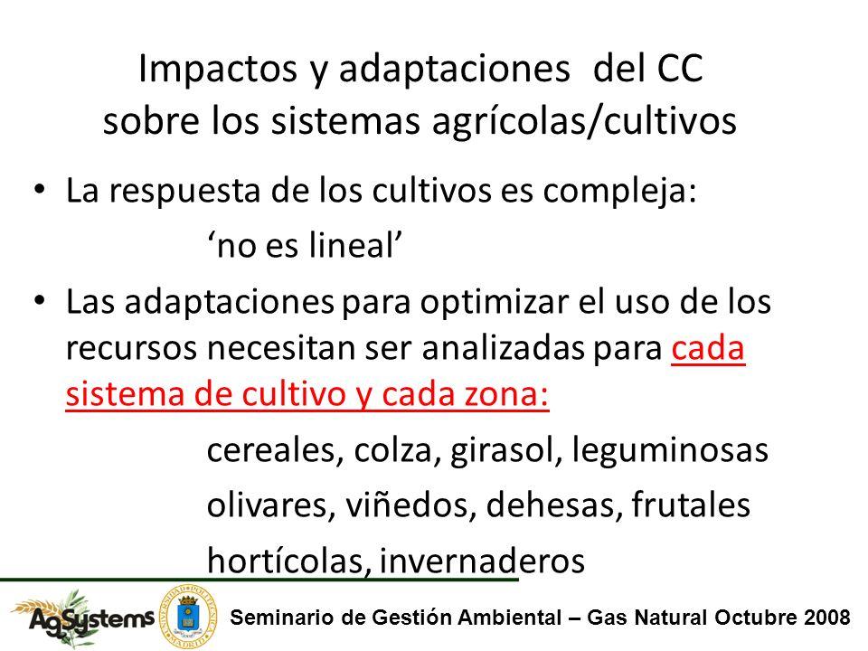 Impactos y adaptaciones del CC sobre los sistemas agrícolas/cultivos