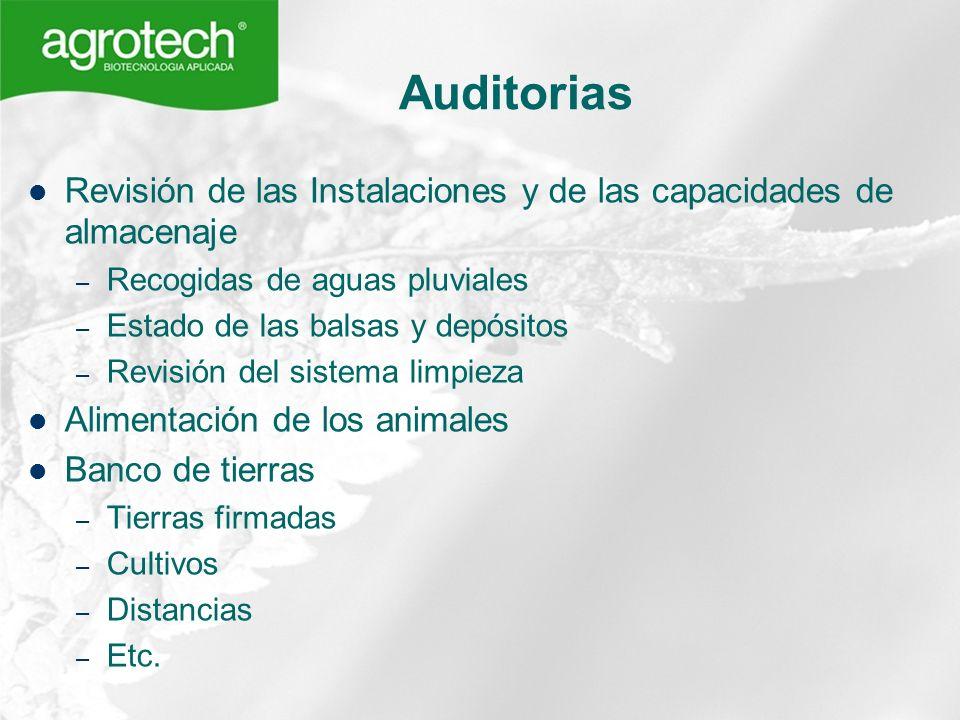 Auditorias Revisión de las Instalaciones y de las capacidades de almacenaje. Recogidas de aguas pluviales.