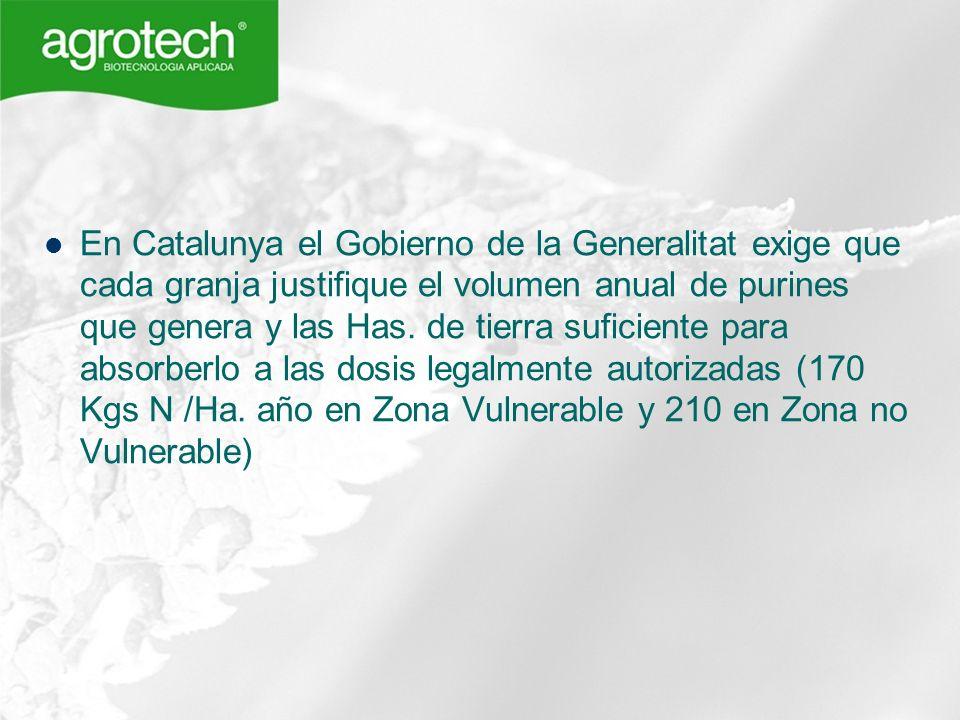 En Catalunya el Gobierno de la Generalitat exige que cada granja justifique el volumen anual de purines que genera y las Has.