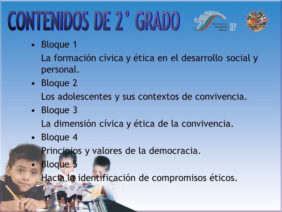 CONTENIDOS DE 2° GRADO Bloque 1