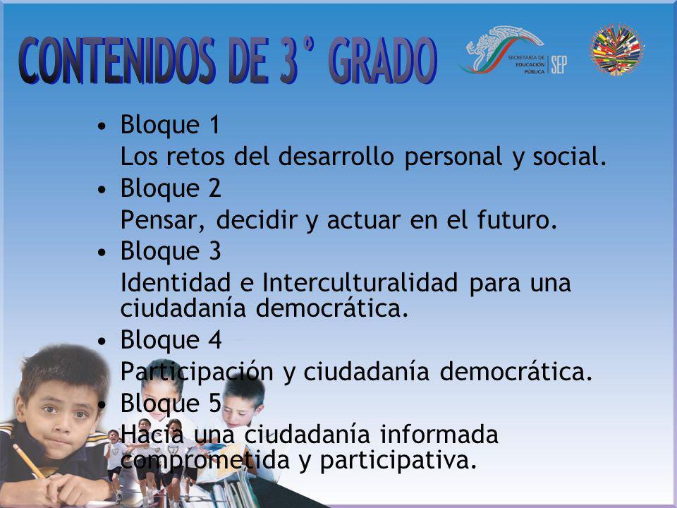 CONTENIDOS DE 3° GRADO Bloque 1