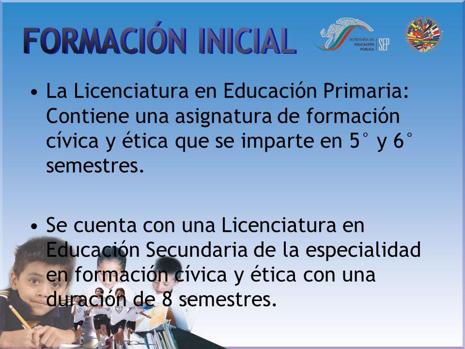FORMACIÓN INICIAL La Licenciatura en Educación Primaria: Contiene una asignatura de formación cívica y ética que se imparte en 5° y 6° semestres.