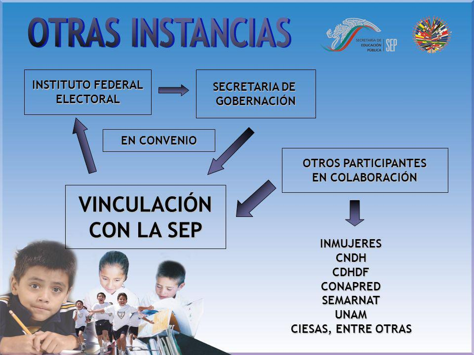 OTRAS INSTANCIAS VINCULACIÓN CON LA SEP Instituto Federal Electoral: