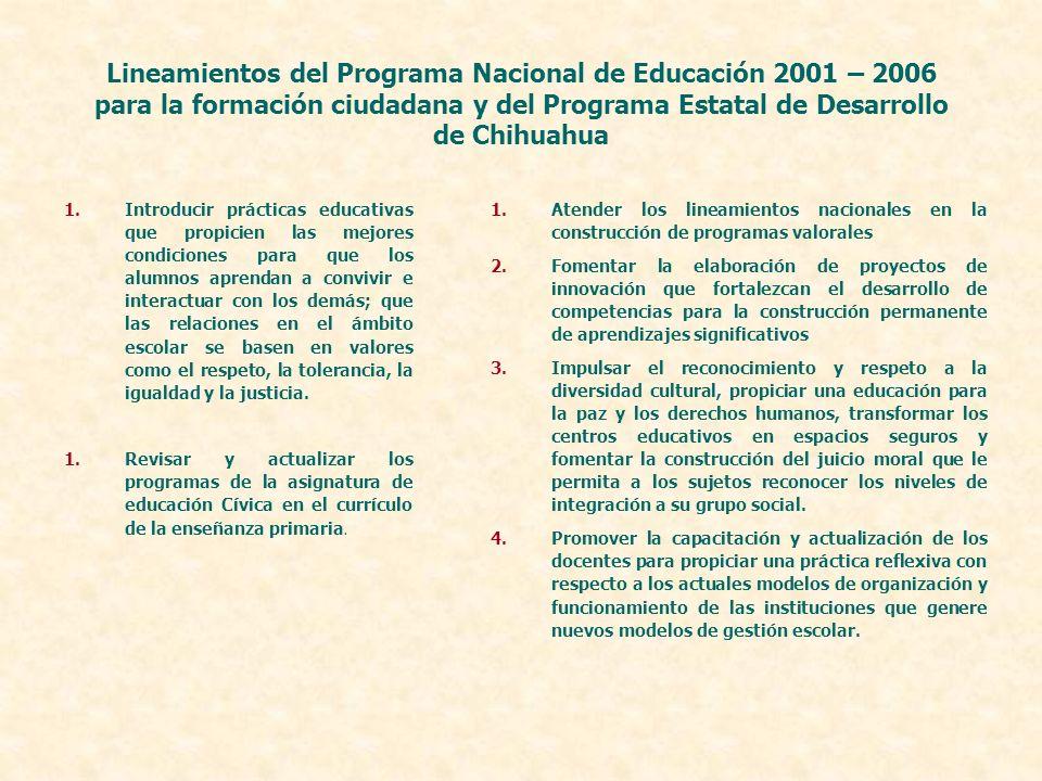Lineamientos del Programa Nacional de Educación 2001 – 2006 para la formación ciudadana y del Programa Estatal de Desarrollo de Chihuahua