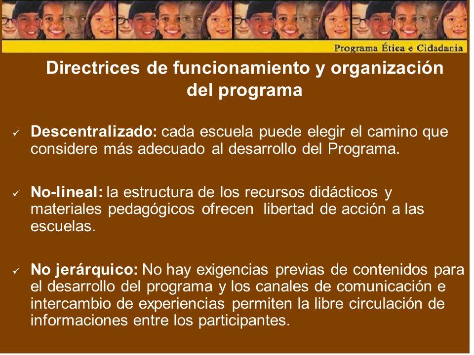 Directrices de funcionamiento y organización del programa