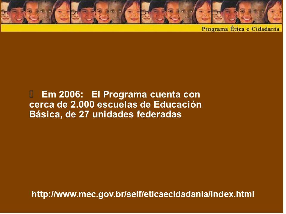 ü Em 2006: El Programa cuenta con cerca de 2.000 escuelas de Educación Básica, de 27 unidades federadas.
