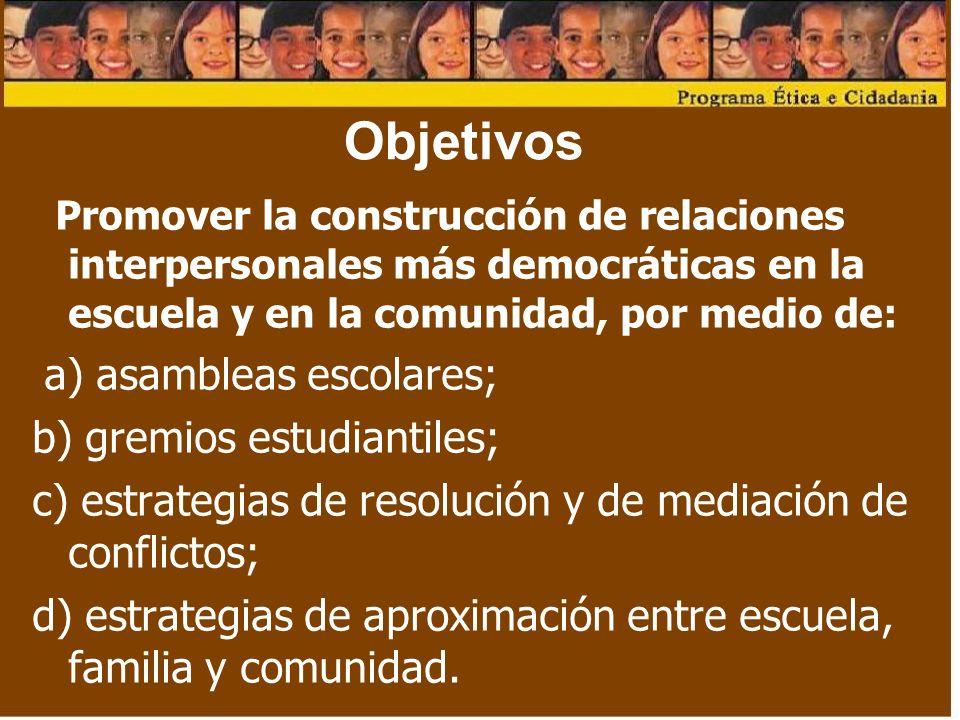 Objetivos a) asambleas escolares; b) gremios estudiantiles;