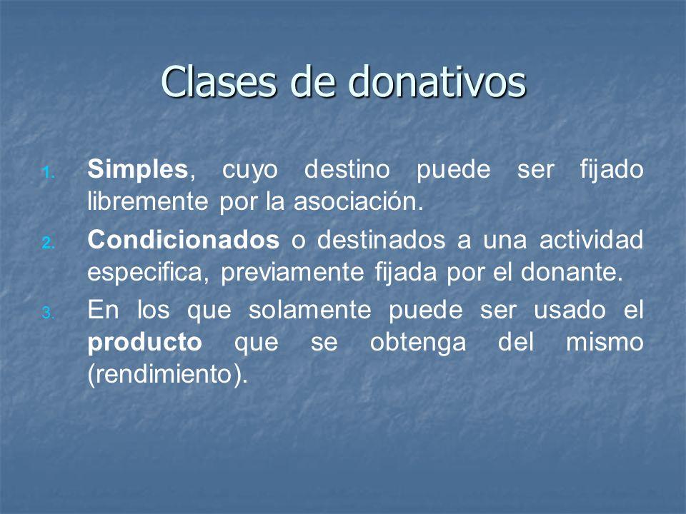 Clases de donativos Simples, cuyo destino puede ser fijado libremente por la asociación.