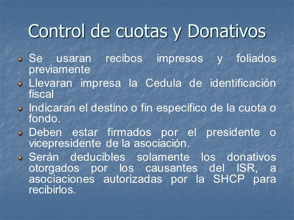 Control de cuotas y Donativos