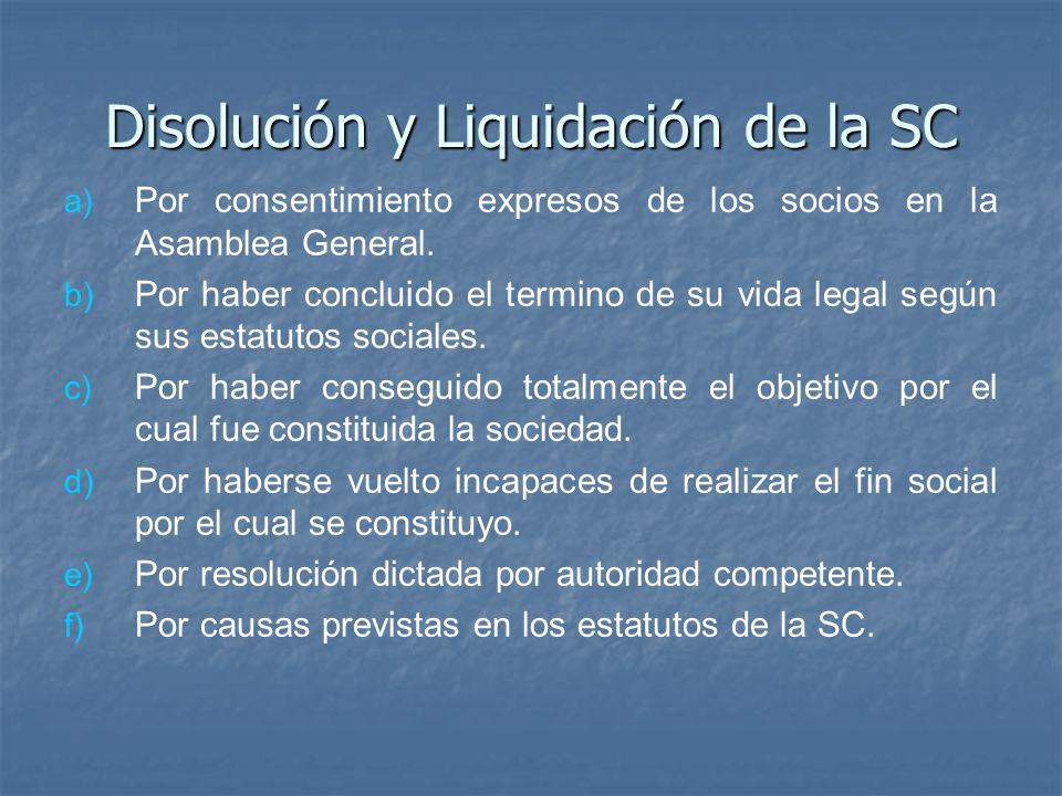 Disolución y Liquidación de la SC