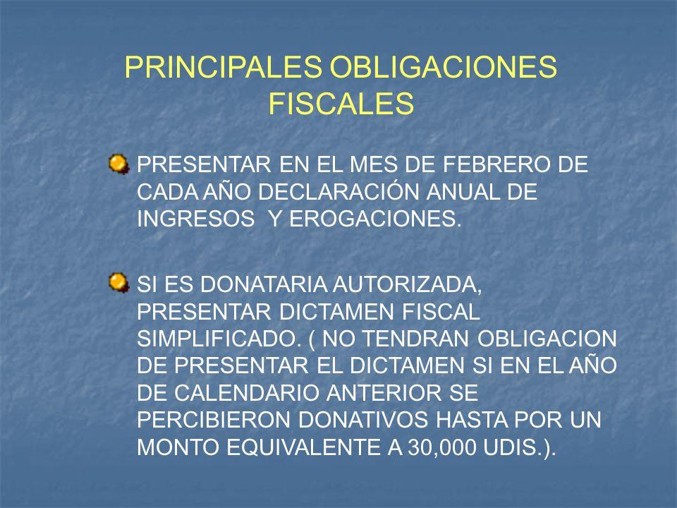 PRINCIPALES OBLIGACIONES FISCALES