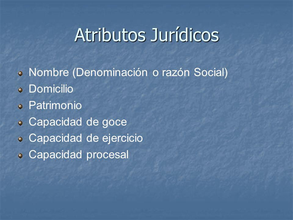 Atributos Jurídicos Nombre (Denominación o razón Social) Domicilio