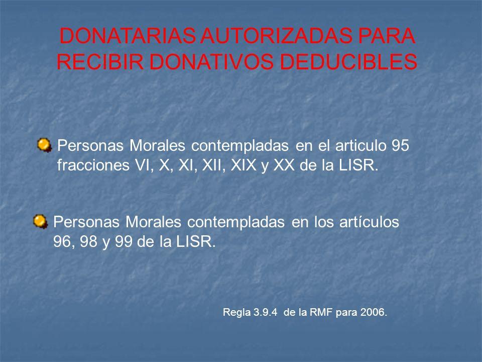 DONATARIAS AUTORIZADAS PARA RECIBIR DONATIVOS DEDUCIBLES