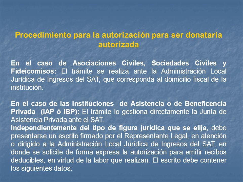 Procedimiento para la autorización para ser donataria autorizada