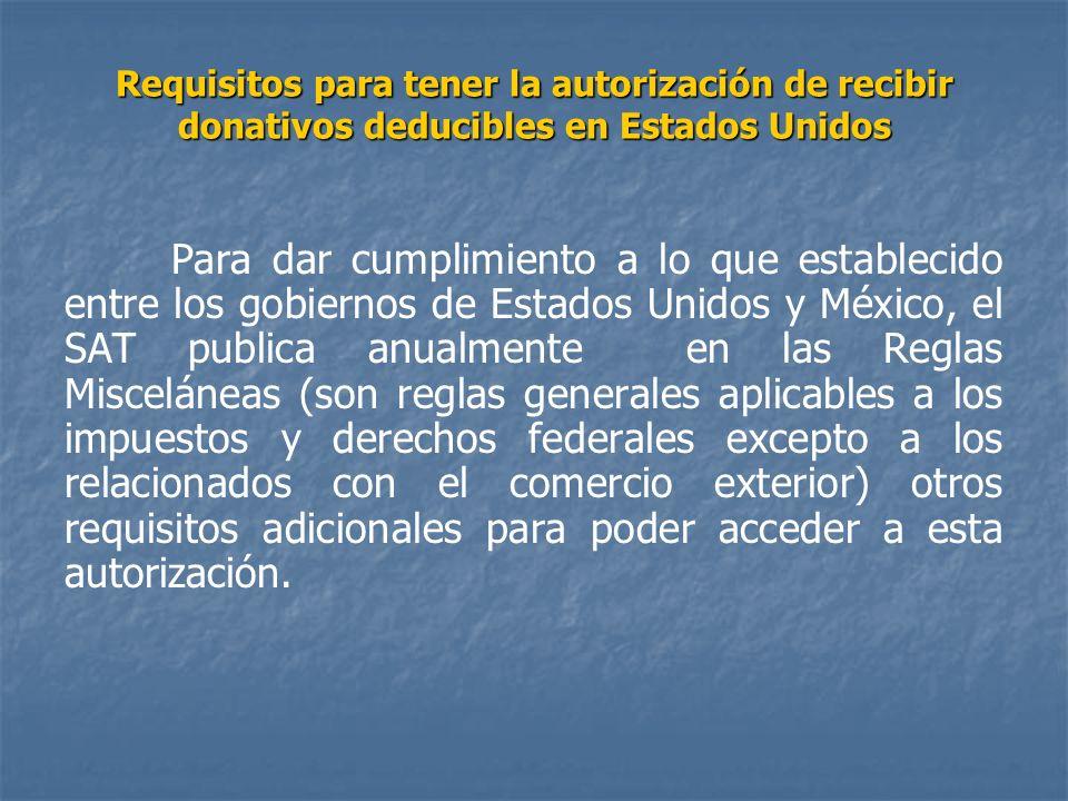 Requisitos para tener la autorización de recibir donativos deducibles en Estados Unidos