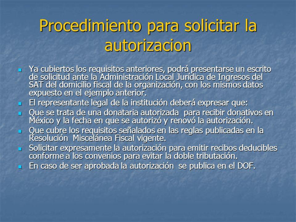 Procedimiento para solicitar la autorizacion
