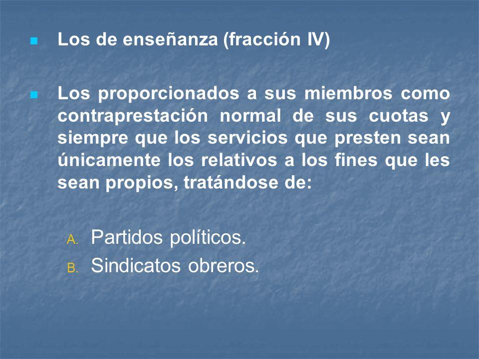 Partidos políticos. Sindicatos obreros. Los de enseñanza (fracción IV)