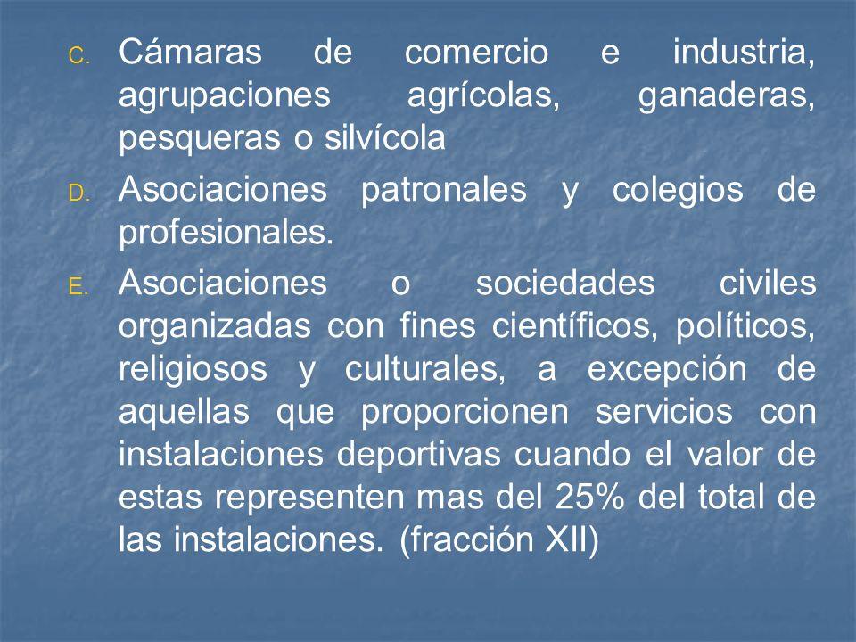Cámaras de comercio e industria, agrupaciones agrícolas, ganaderas, pesqueras o silvícola