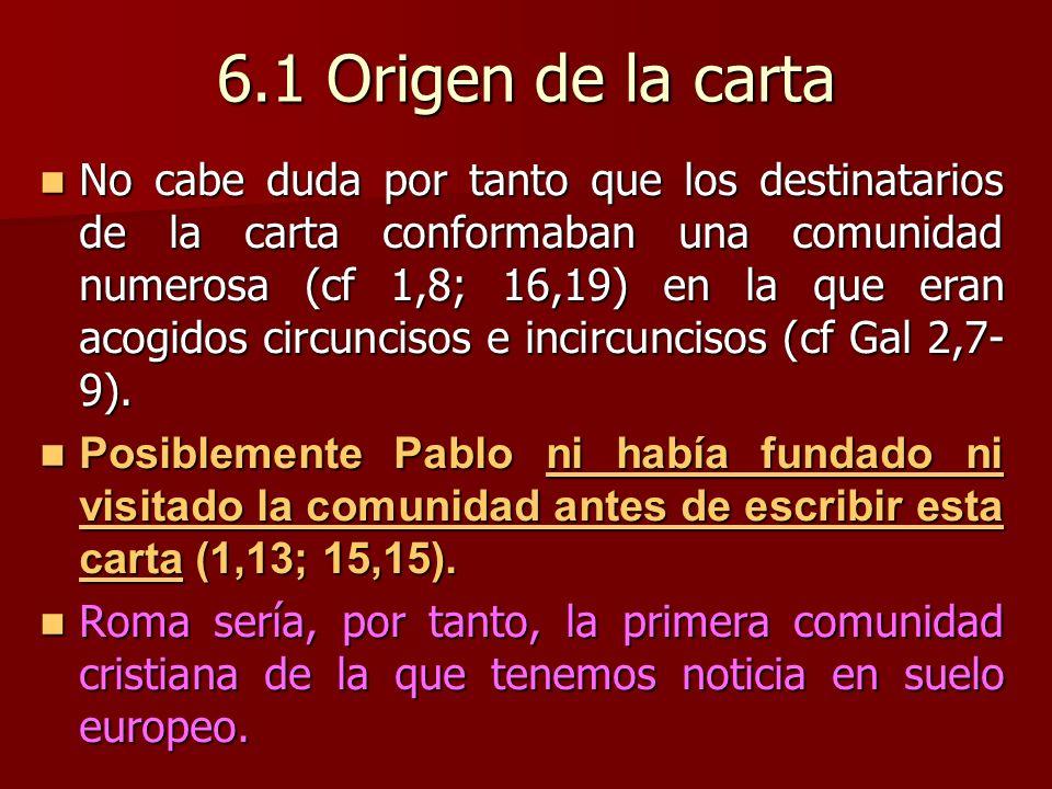 6.1 Origen de la carta