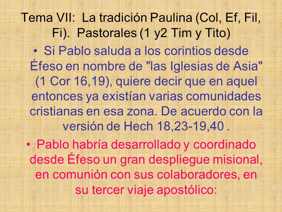 Tema VII: La tradición Paulina (Col, Ef, Fil, Fi)