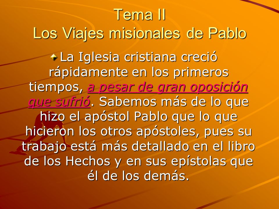 Tema II Los Viajes misionales de Pablo