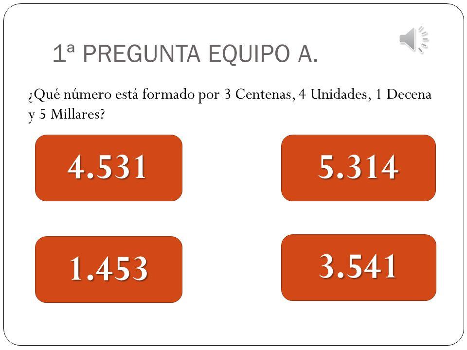 1ª PREGUNTA EQUIPO A. ¿Qué número está formado por 3 Centenas, 4 Unidades, 1 Decena y 5 Millares 4.531.