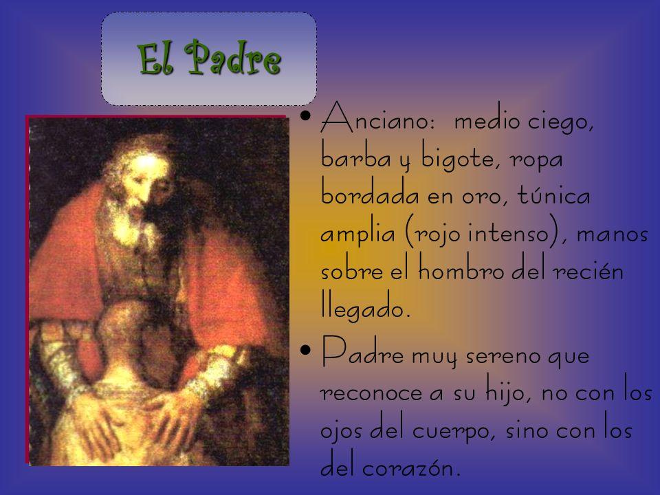 El Padre Anciano: medio ciego, barba y bigote, ropa bordada en oro, túnica amplia (rojo intenso), manos sobre el hombro del recién llegado.