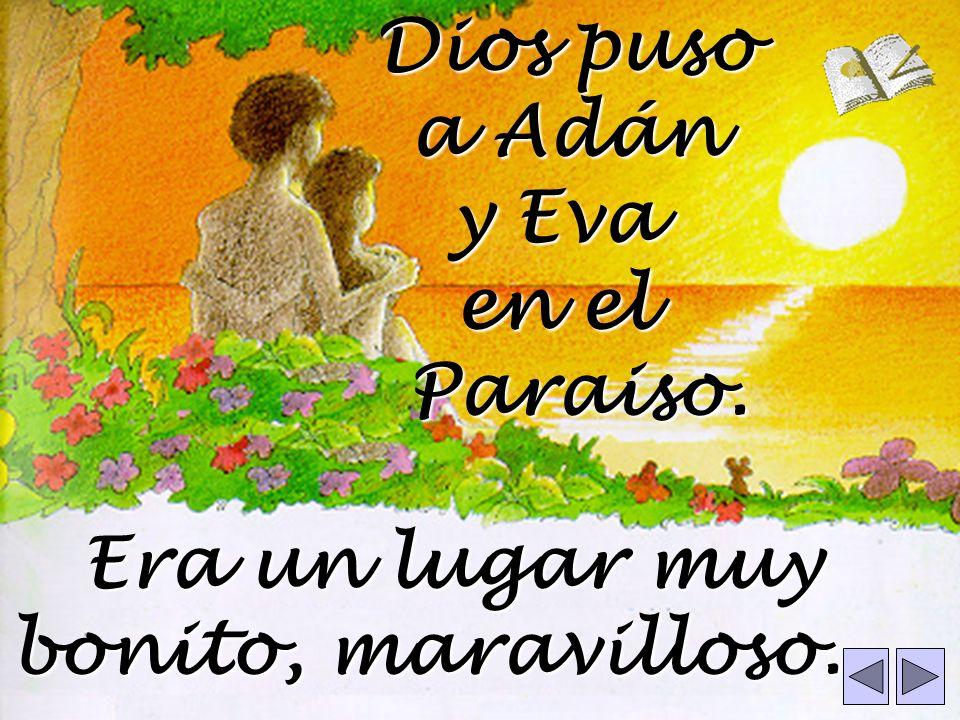 Dios puso a Adán y Eva en el Paraiso. Era un lugar muy bonito, maravilloso.