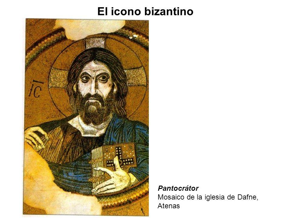 El icono bizantino Pantocrátor Mosaico de la iglesia de Dafne, Atenas