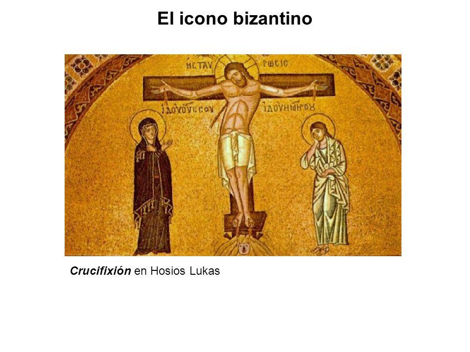 El icono bizantino Crucifixión en Hosios Lukas