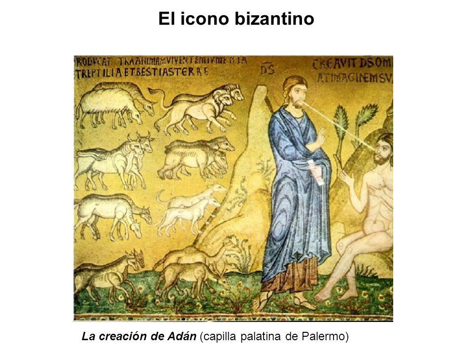 El icono bizantino La creación de Adán (capilla palatina de Palermo)