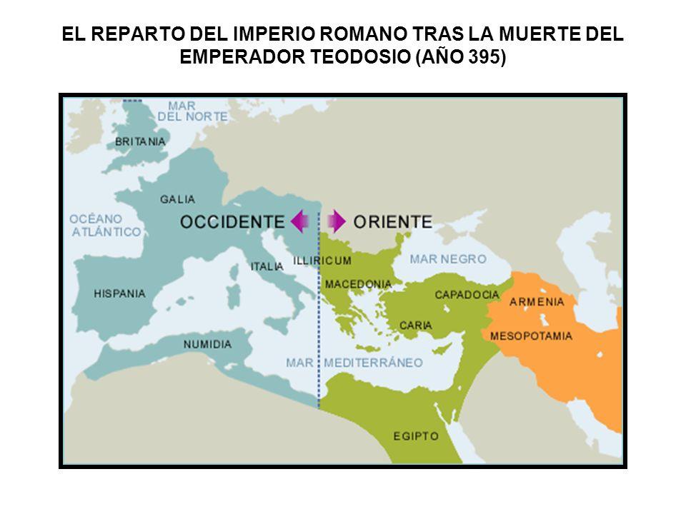 EL REPARTO DEL IMPERIO ROMANO TRAS LA MUERTE DEL EMPERADOR TEODOSIO (AÑO 395)