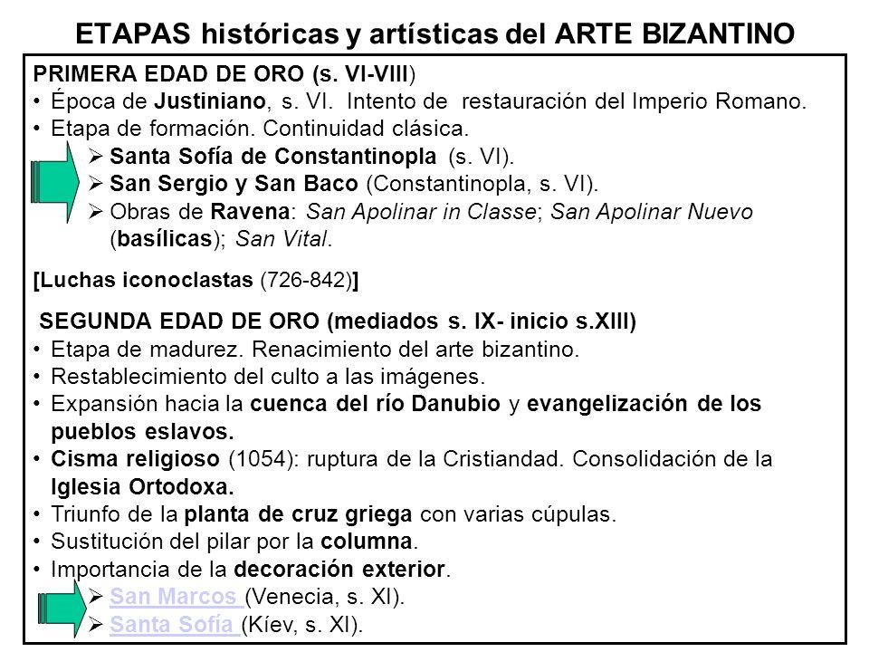 ETAPAS históricas y artísticas del ARTE BIZANTINO
