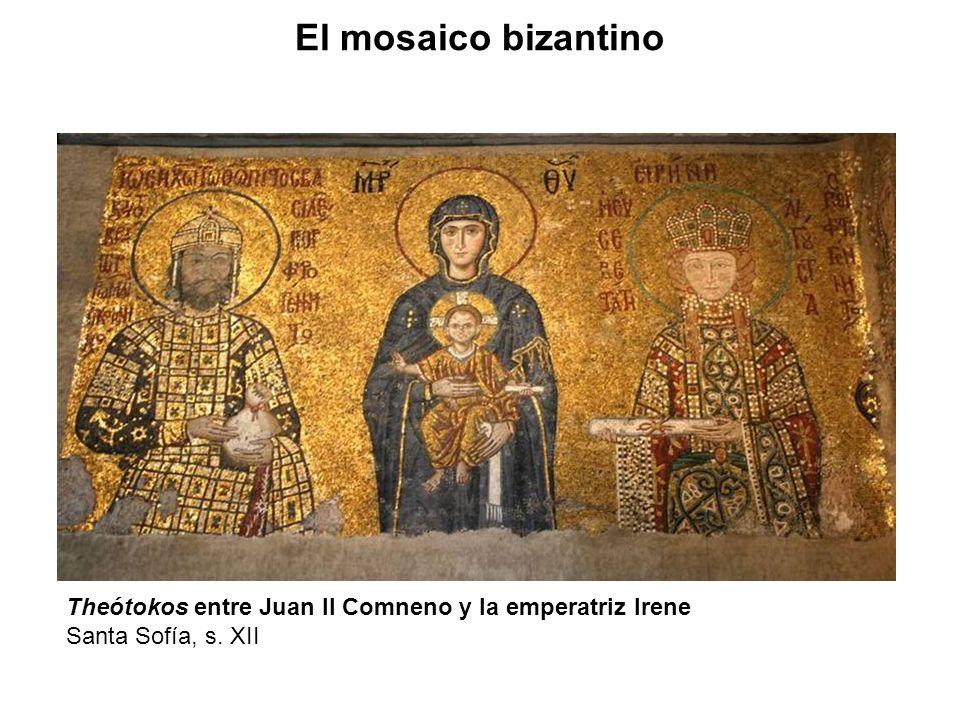 El mosaico bizantino Theótokos entre Juan II Comneno y la emperatriz Irene Santa Sofía, s. XII
