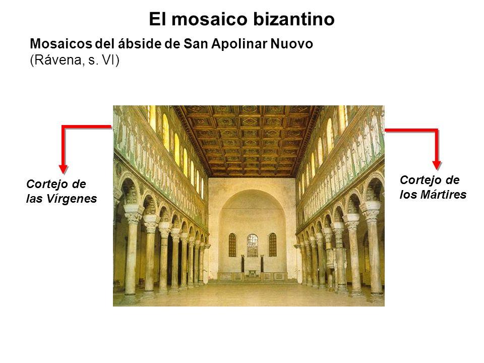 El mosaico bizantinoMosaicos del ábside de San Apolinar Nuovo (Rávena, s. VI) Cortejo de los Mártires.