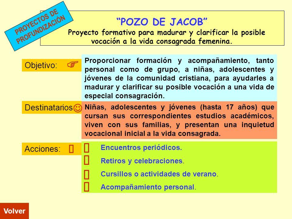 F F T ñ ñ ñ ñ J J ñ POZO DE JACOB Objetivo: Destinatarios: Acciones: