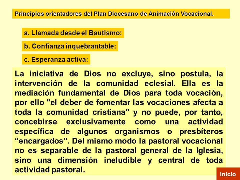 Principios orientadores del Plan Diocesano de Animación Vocacional.